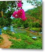 Bouganvilla Watches Over Village Fishing Boats Metal Print