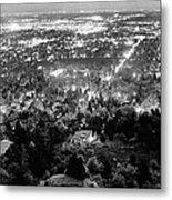 Boulder Colorado City Lights Panorama  Black And White Metal Print