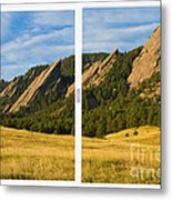 Boulder Colorado Flatirons White Window Frame Scenic View Metal Print
