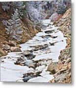 Boulder Creek Frosted Snowy Portrait View Metal Print