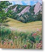 Boulder Flatirons - Chautauqua Study Metal Print