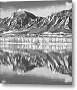 Boulder Reservoir Flatirons Reflections Boulder Co Bw Metal Print