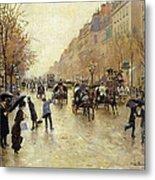 Boulevard Poissonniere In The Rain, C.1885 Oil On Canvas Metal Print