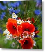 Bouquet Of Fresh Poppies Camomiles And Cornflowers Metal Print