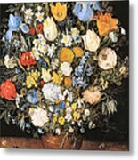 Bouquet In A Clay Vase Metal Print