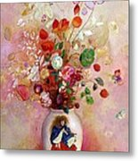 Bouquet Of Flowers In A Japanese Vase Metal Print by Odilon Redon