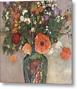 Bouquet Of Flowers In A Vase Metal Print by Odilon Redon
