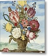 Bouquet Of Flowers On A Ledge Metal Print