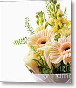 Bouquet Of Flowers On White Background Metal Print