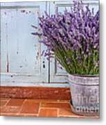 Bouquet Of Lavender In A Rustic Setting Metal Print