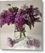 Bouquet Of Lilacs In A Glass Pot Metal Print