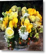 Bouquet With Roses And Calla Lilies Metal Print