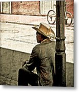 Bourbon Cowboy In New Orleans Metal Print