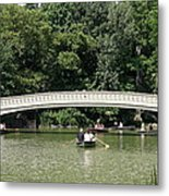 Bow Bridge And Row Boats Metal Print