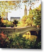 Bow Bridge - Autumn - Central Park Metal Print