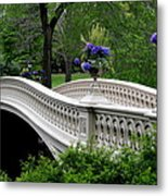 Bow Bridge Flower Pots - Central Park N Y C Metal Print