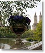 Bow Bridge Flowerpot And San Remo Nyc Metal Print