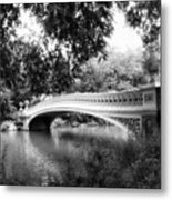 Bow Bridge In Black And White Metal Print