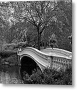 Bow Bridge Nyc In Black And White Metal Print
