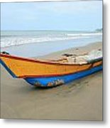 Bow Of A Blue And Yellow Fishing Boat Metal Print