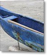 Bow Of A Blue Wood Fishing Boat Metal Print