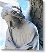 Bowing Male Angel With Blue Sky And Clouds Metal Print