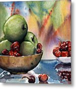 Apples In A Wooden Bowl With Cherries On The Side Metal Print
