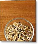 Bowl Of Shelled Walnuts Metal Print