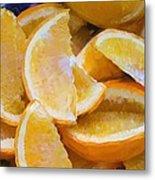 Bowl Of Sliced Oranges Metal Print