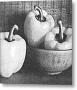 Bowl With Three Peppers Metal Print