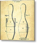 Bowling Pin Patent Drawing From 1938 - Vintage Metal Print