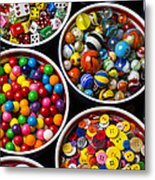 Bowls Of Buttons And Marbles Metal Print