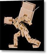 Box Character Carrying Large Box Metal Print