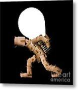 Box Character Carrying Light Bulb Metal Print