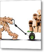 Box Character Moving Boxes On Trolley Metal Print
