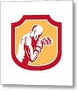 Boxer Boxing Jabbing Punch Side Shield Retro Metal Print