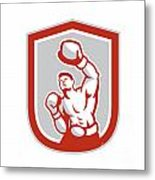 Boxer Boxing Punching Jabbing Circle Retro Metal Print