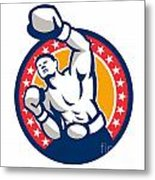 Boxer Boxing Punching Jabbing Retro Metal Print