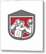 Boxer Punching Boxing Shield Retro Metal Print