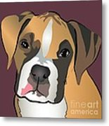 Boxer Puppy Pet Portrait  Metal Print
