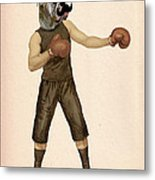 Boxing Bulldog Metal Print