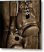 Boxing Gloves  Black And White Metal Print by Paul Ward