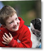 Boy, Age 6, Smiling With Jack Russell Metal Print