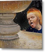 Boy At Fountain Of Youth Metal Print