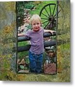 Boy By Fence Metal Print