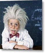 Boy Dressed As Einstein Metal Print