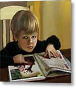 Boy In A Black Sweater Detail Metal Print