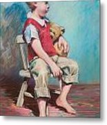 Boy In Chair Metal Print