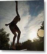 Boy Jumping Off Diving Board Metal Print