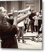 Boy On A Trumpet In Nola Metal Print